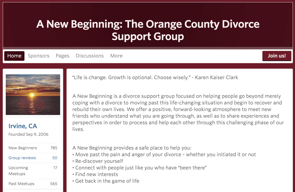 A New Beginning: The Orange County Divorce Support Group